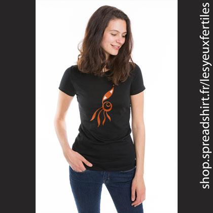 Œil Fleur 11 - Tee shirt femme coloris noir - T-shirts personnalisés homme, femme, enfant et cadeaux personnalisés - Cultivez la zen attitude avec Les Yeux Fertiles