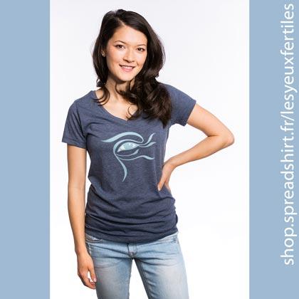 Œil Fleur 2 Tee shirt femme col en V - T-shirts personnalisés homme, femme, enfant et cadeaux personnalisés - Cultivez la zen attitude avec Les Yeux Fertiles
