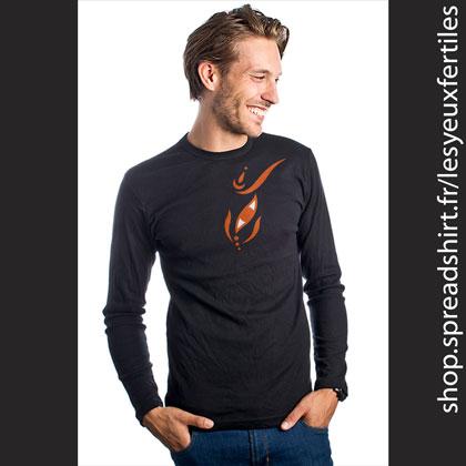 Œil Méditation 26 - Tee shirt manches longues noir Premium Homme - T-shirts personnalisés homme, femme, enfant et cadeaux personnalisés - Cultivez la zen attitude avec Les Yeux Fertiles