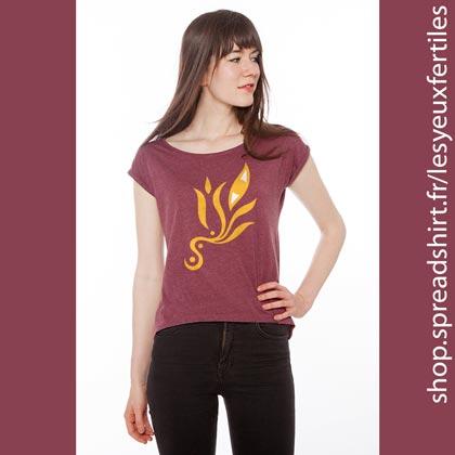 Œil Méditation 5 Tee shirt femme à manches retroussées coloris bordeaux - T-shirts personnalisés homme, femme, enfant et cadeaux personnalisés - Cultivez la zen attitude avec Les Yeux Fertiles