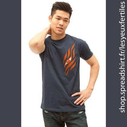 Œil Shinning - Tee shirt classic homme coloris bleu marine - T-shirts personnalisés homme, femme, enfant et cadeaux personnalisés - Affichez la zen attitude avec Les Yeux Fertiles