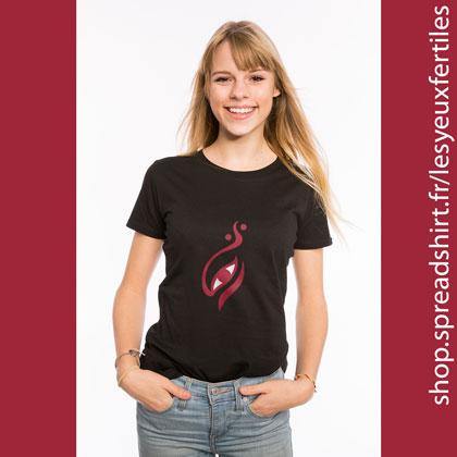 Œil Yin-Yang - T-shirt bio Femme - Le fameux symbole du Yin et du Yang revisité par Les Yeux Fertiles. Deux couleurs personnalisables. T-shirts personnalisés homme, femme, enfant et cadeaux personnalisés - Adoptez la zen attitude !
