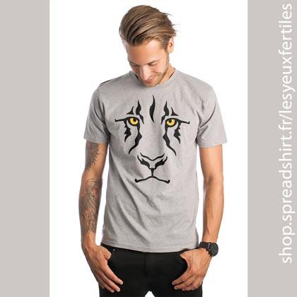 Le regard du lion - T-shirt bio homme gris chiné - Tee-shirts personnalisés homme, femme, enfant et cadeaux personnalisés - Affichez-vous avez vos animaux emblématiques grâce aux designs Les Yeux Fertiles